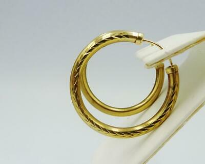 9ct Yellow Gold Patterned Outer Patter Ladies Hoop Sleepers Earrings 29.5mm - Richard Miles Jewellers