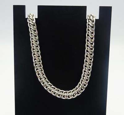 9ct White Gold Wide Fancy Double Linked Curb Chain 18inch 16.6g 6.85mm RRP £670 - Richard Miles Jewellers