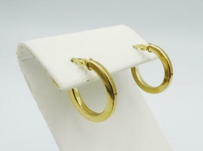 9ct Yellow Gold 375 Stamped Small Plain Oval Hoop Style Lades Earrings 14.8mm - Richard Miles Jewellers