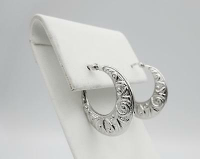 9ct White Gold 375 Pattern Embossed Creole Ladies Hoop Earrings 23mm - Richard Miles Jewellers