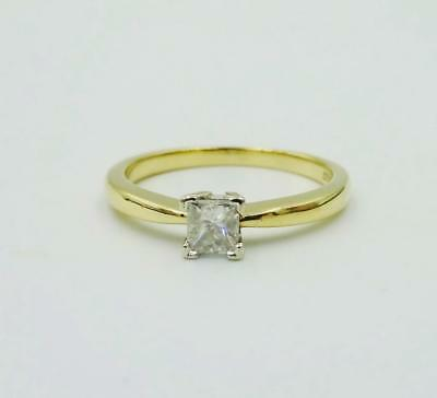 9ct Gold Princess Cut Square 0.25ct SI2 H/I Colour Diamond Ring 3.6mm 2g L 1/2