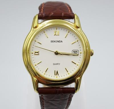 Sekonda Quartz Gold Plated Mens Brown Leather Strap Date Watch 03029