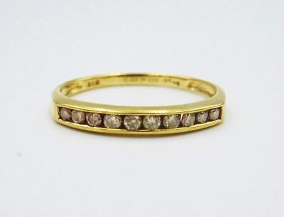 9ct Yellow Gold Ladies Half Eternity Channel Set Dia 0.25ct Ring 1.4g P