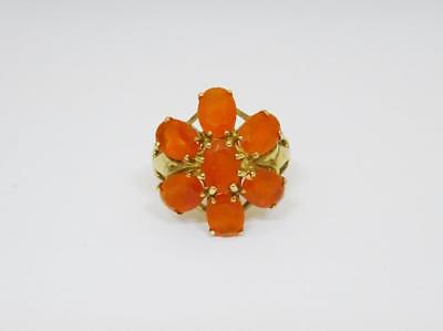 9ct Yellow Gold Ladies Orange Stone Cluster Ring Size N 4.8g 20mm