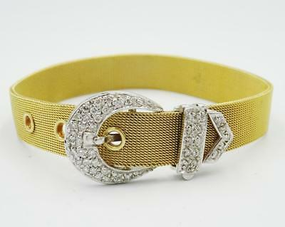 "9ct Two Colour Gold 0.40ct Diamond Encrusted Belt Buckle Mesh Bracelet 6""-7"" 21g - Richard Miles Jewellers"