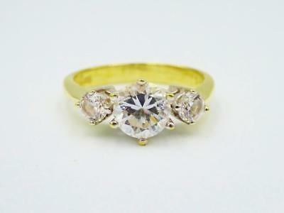 14ct Yellow Gold Cubic Zirconia 3 Trilogy Stone Heavyweight Ladies Ring 3.7g O