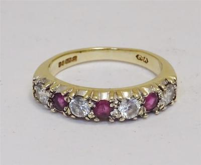 9ct Yellow Gold Ladies Half Eternity Ruby and Cubic Zirconia Ring Size M 3.4g