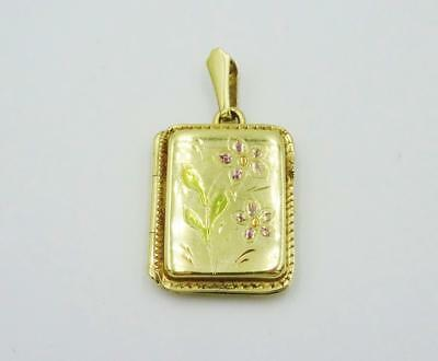 9ct Yellow Gold 375 Enamel Vintage Rectangle Floral Design Locket 33x20mm 7g