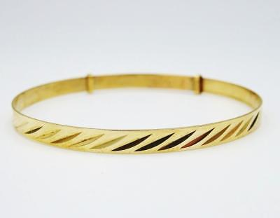 9ct Yellow Gold Children's Patterned Expandable Bangle 2.8g 4.5inch 5.5 inch
