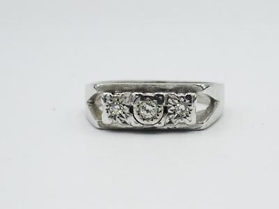 18ct White Gold Ladies Vintage Old Cut Diamond Ring 0.07ct 6.1g Size M