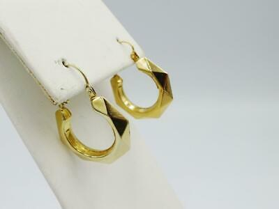 9ct Yellow Gold Fancy Classic Creole Edge Cut Hoop Style Ladies Earrings 19.5mm - Richard Miles Jewellers