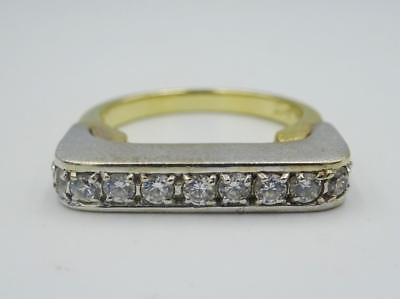 14ct Gold Ladies Fancy Cubic Zirconia 2 Colour Heavy Ring Size P 7.2g