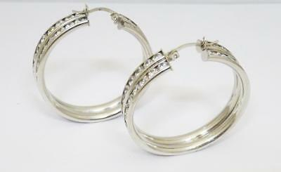 9ct White Gold Two Row CZ Large Heavy Channel Set Stone Hoop Earrings 14.9g 38mm - Richard Miles Jewellers