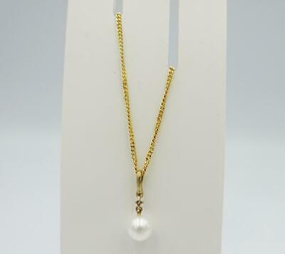 9ct Yellow Gold 375 Cultured 6mm Round Pearl Diamond Mount Necklace 2.6g 16inch