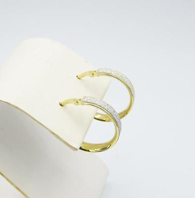 9ct Yellow Gold Glittery Diamond Cut Hoop Style Earrings 15mm - Richard Miles Jewellers