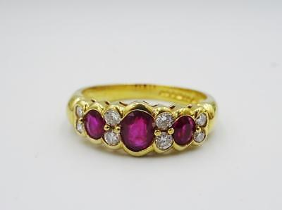 18ct Yellow Gold Ladies Oval Ruby 0.16ct Diamond Fancy Eternity Ring Size P 4.8g