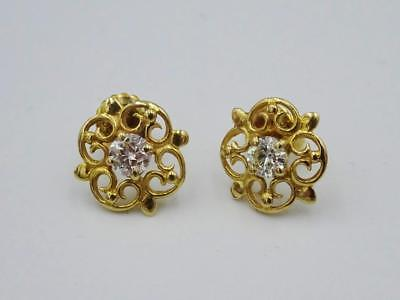 9ct Yellow Gold Ladies Fancy Round Brilliant Diamond Earring Studs 0.35ct - Richard Miles Jewellers