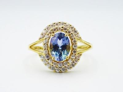 9ct Yellow Gold Oval CZ Blue Stone Two Row Cluster Dress Ring 2.6g Size N - Richard Miles Jewellers