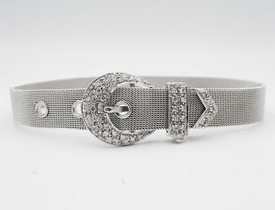 "9ct White Gold 0.40ct Diamond Set Belt Buckle Mesh Ladies 7""-8.4"" Bracelet 23.3g - Richard Miles Jewellers"