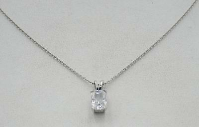 14ct White Gold Ladies Rectangular Cubic Zirconia Pendant Chain 16 inches 2.5g - Richard Miles Jewellers