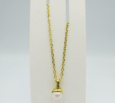 18ct Yellow Gold Cultured Pearl 7mm Ladies Belcher Necklace 5.3g 16inch - Richard Miles Jewellers