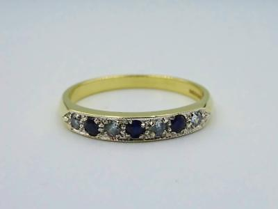 9ct Gold Ladies Sapphire Cubic Zirconia Eternity Ring Size Q 1/2 2.3g - Richard Miles Jewellers