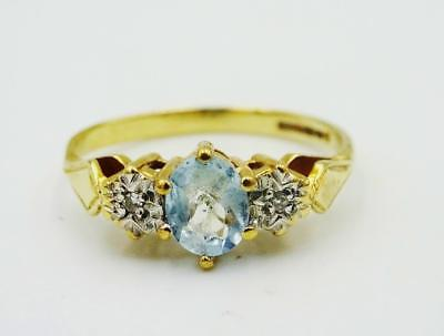 9ct Yellow Gold Blue Topaz 0.02ct Diamond Ladies 3 Stone Cluster Ring 1.6g K