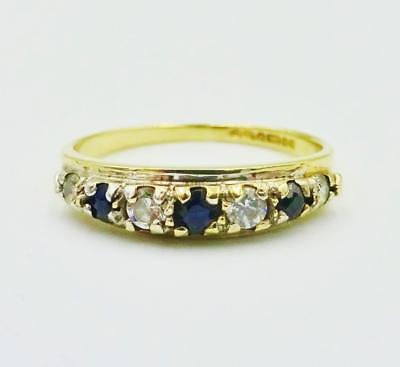 9ct Yellow Gold Sapphire CZ Quality Ladies Ring HallMarked Size M 1.5g RRP £60