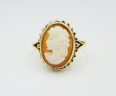 9ct Yellow Gold Oval Cameo Ladies Hall Marked 13mm Ring Size O 3g RRP £120 - Richard Miles Jewellers
