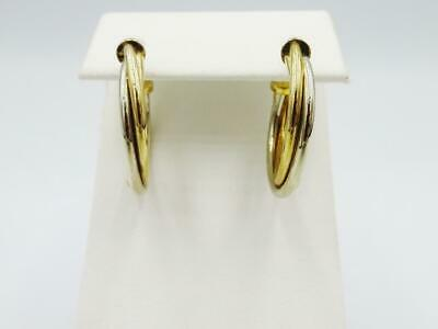9ct 2 Colour Yellow White Gold 375 Stamped Quality Twisted Hoop Earrings 23.5mm - Richard Miles Jewellers
