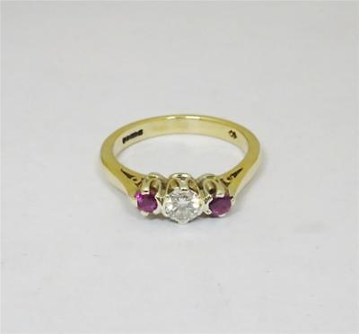 9ct Yellow Gold Ladies 0.23ct Diamond and Ruby Ring Size N 3.1g