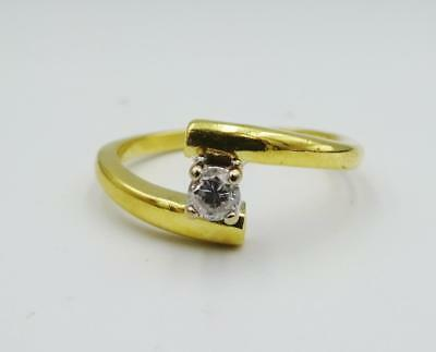 18ct Yellow Gold 0.12ct G I1 Diamond Twisted Split Engagement Ring 3.9g Size O