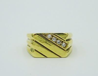 9ct Yellow Gold Men's Patterned 4 Stone 0.16ct Diamond Signet Ring 16mm 9g R