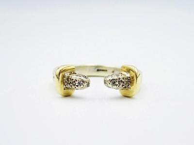 9ct White Yellow Gold Torque Style 0.49ct Diamond Encrusted Mens Solid Ring S - Richard Miles Jewellers