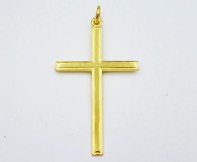 9ct Yellow Gold Quality Large Border Design Cross 3.9g 50mm 29mm - Richard Miles Jewellers
