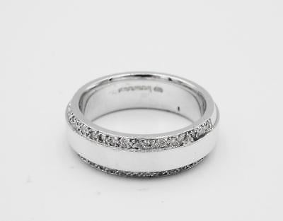 18ct White Gold Solid Heavyweight 0.20ct Diamond Edge Wedding Band M 10g 6mm - Richard Miles Jewellers