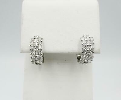 9ct White Gold 3 Row CZ Stone Encrusted Wide Huggie Style Earrings 15.2mm
