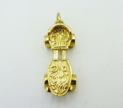 9ct Yellow Gold Moving Detailed Skateboard Pendant/Charm 3.7g 27mm 10mm - Richard Miles Jewellers