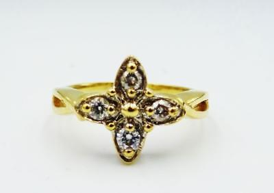 9ct Yellow Gold Quality Floral 0.20ct F I1 4 Diamond Cluster Ring 3g Size P 12mm