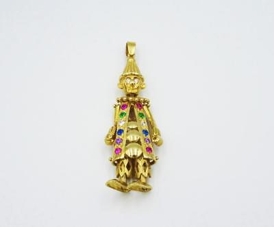 9ct Yellow Gold CZ Coloured Stones Heavyweight Large Clown Boy Pendant 13g 60mm - Richard Miles Jewellers