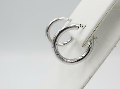 9ct White Gold 375 Plain Creole Round Ladies Hoop Earrings 20mm x 2.9mm - Richard Miles Jewellers