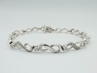 9ct White Gold Diamond Infinity Tennis Bracelet Ladies 0.54ct 7inch 7.5g 5.3mm - Richard Miles Jewellers
