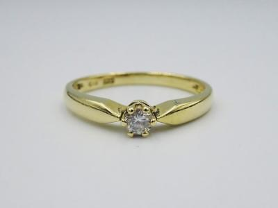 14ct Gold Ladies Single Stone Round Diamond Ring 0.10ct 2.0g Size O - Richard Miles Jewellers