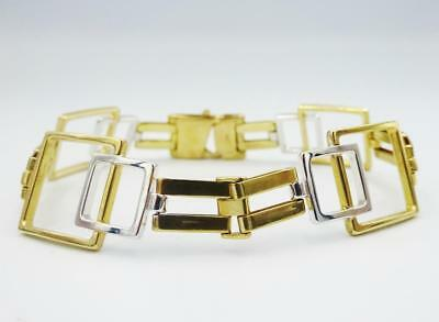 9ct Yellow White Gold Fancy Ladies Square Design Bracelet 7inch 13.9g - Richard Miles Jewellers