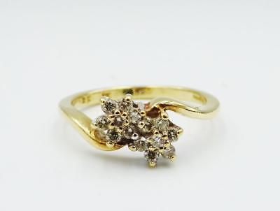 9ct Yellow Gold Fancy Twist Double Flower 0.25ct Diamond Cluster Ring 2.3g N - Richard Miles Jewellers