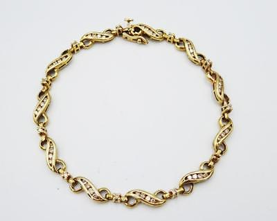 9ct Yellow Gold Ladies Fancy Chanel Set 1.00ct Round Diamond bracelet 8.9g 8inch