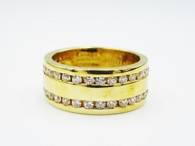 9ct Yellow Gold Two Row Sparkly CZ Ladies Wedding Band 6.7g 8mm Size M 1/2 - Richard Miles Jewellers