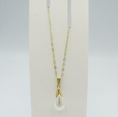 9ct Yellow Gold Stamped Synthetic Tear Drop Pearl Pendant 15inch Chain 21mm 1.1g