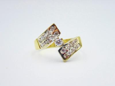 9ct Yellow White Gold Fancy Ladies CZ Cluster Ring 3.5g N 15.15mm