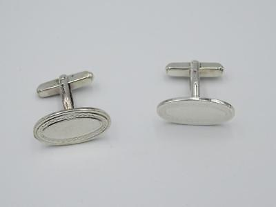 Sterling Silver 925 Mens Oval Shaped Patterned Cufflinks 6.7g - Richard Miles Jewellers